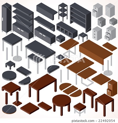 isometric office furniture vector collection