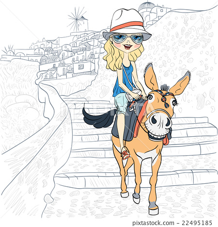 Beautiful girl on a donkey in Oia, Santorini 22495185