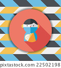 Female patient flat icon with long shadow 22502198