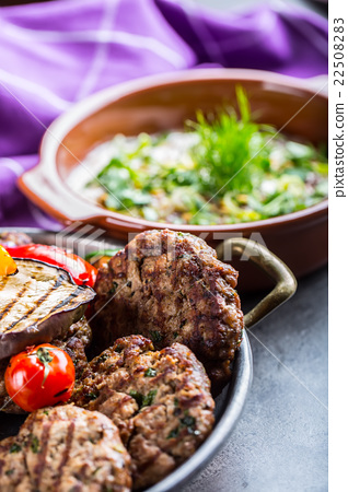 Stock Photo: Burgers. Grill burgers. Minced burgers. Roasted