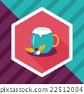 hot milk cream coffee flat icon with long shadow,eps10 22512094