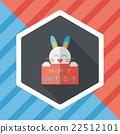 Happy birthday rabbit card flat icon with long shadow,eps10 22512101