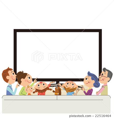TV 시청 세 가족 22516464