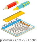 Isometric fountain pen,pencil, calendar and  22517785