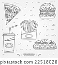 Vector thin line icon pizza, fries, soda, hot dog 22518028