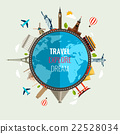 Travel composition with world landmarks icons. 22528034