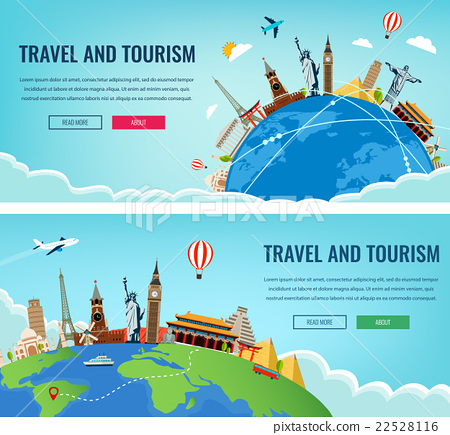 Stock Illustration: Travel composition with famous world landmarks