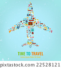 Airplane silhouette with travel flat icons.  22528121