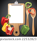 Vector wooden cutting and clipboard with herb 22532823
