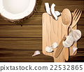 Vector coconut and garlic with wooded , fork. 22532865