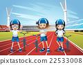 Three kids riding bike on the track 22533008