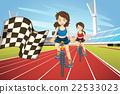 Women racing bike in the field 22533023