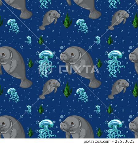 Seamless background with manatee underwater 22533025