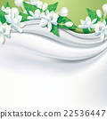 Vector white fabric (silk) background with flower 22536447