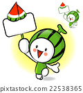 The Watermelon mascot holding a big board.  22538365