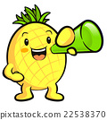 Pineapple Mascot the  is holding a loudspeaker. 22538370
