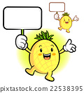The Pineapple mascot holding a board. Fruit  22538395