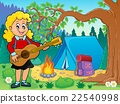 Girl guitar player in campsite theme 2 22540998