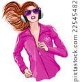 Running woman with headphones 22545482