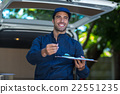 Smiling delivery person giving clipboard for signature 22551235