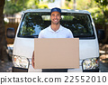 Portrait of smiling delivery person holding cardboard box 22552010