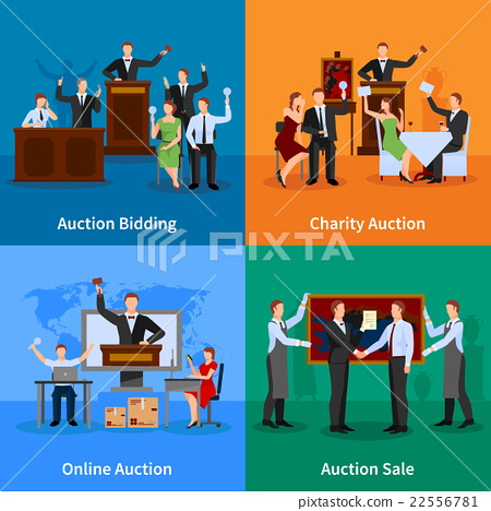 Auction People 4 Flat Icons   22556781