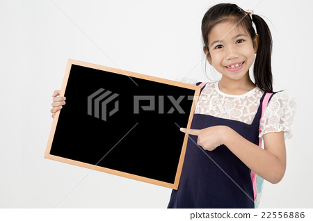 Happy Asian preteens girl hand holding wood board 22556886
