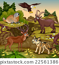Cartoon mountain animals with landscape. Vector  22561386