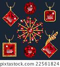 Set of red rubies pendants 22561824