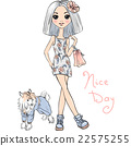 Vector cute fashion girl with dog 22575255