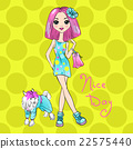 Vector Pop Art cute fashion girl with dog 22575440