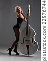 Young Woman In Lingerie With A Double Bass 22576744