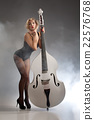 Young Woman In Lingerie With A Double Bass 22576768