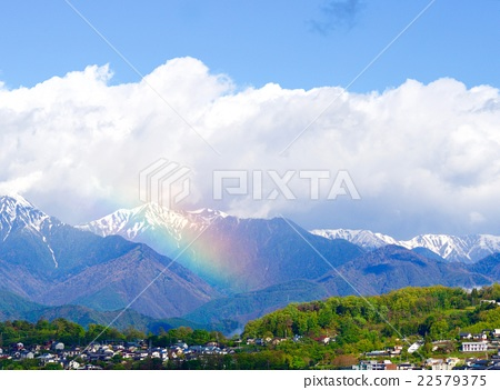 Northern Alps and Rainbow and Clouds 22579375