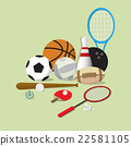 set of main sports equipment item 22581105