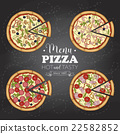 Four types of color pizza on a black board 22582852