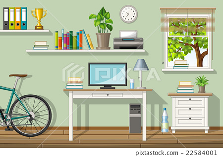 Illustration of a classic homeoffice 22584001