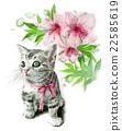 핑크 리본 고양이와 진달래 꽃 22585619