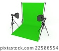 Photo Studio with Green Screen a isolated on white 22586554