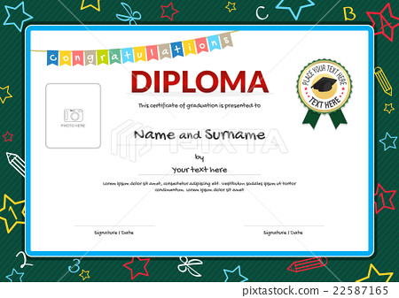 colorful diploma certificate for kids stock illustration 22587165