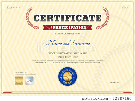 Certificate of participation template in baseball stock certificate of participation template in baseball yadclub Image collections