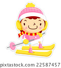 Woman mascot is skiing. 22587457