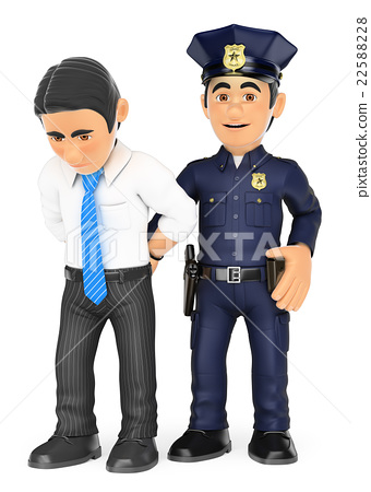 3D Policeman arresting thief.White collar criminal 22588228