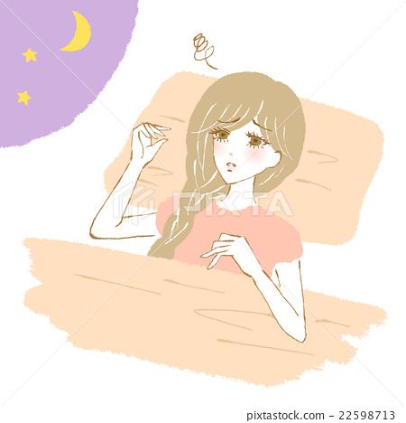 遭受失眠的妇女的例证 22598713