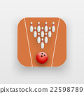 Square icon of bowling alley sport 22598789