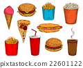 Fast food pizza, sandwiches, desserts and drinks 22601122
