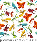 Colorful insects seamless pattern in origami style 22604310