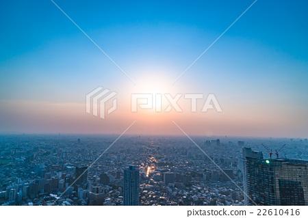 住宅區晚上視圖在中央東京 22610416