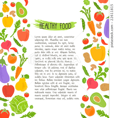 Healthy food background of fresh vegetable, vector 22611815