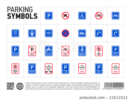 Parking zone sign isolated icon set 22612022